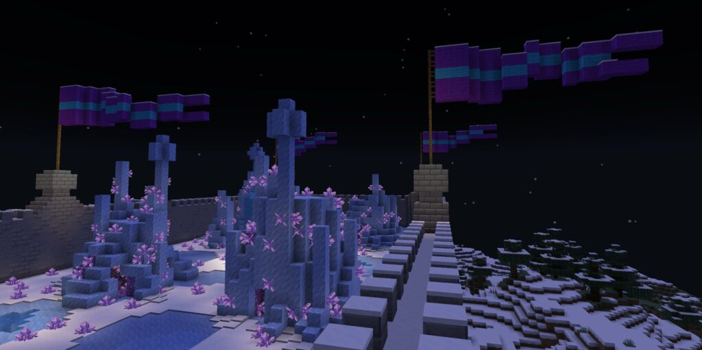 Fortress with ice spires, night time