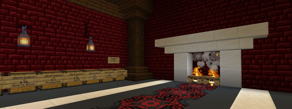 Chest shop in red black and white color scheme
